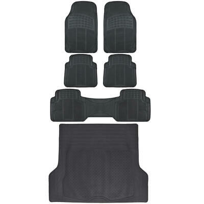 Complete Set All Weather Sturdy Rubber Mats ( 1st, 2nd, 3rd Row & Cargo ) Black