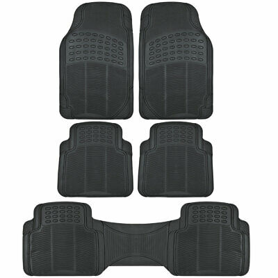 5pc Set All Weather Heavy Duty Rubber SUV Car Black Floor Mats Front Rear Liner