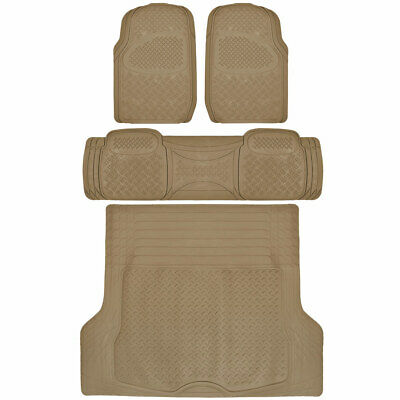 4pc Full Set All Weather Heavy Duty Rubber Beige SUV Floor Mats Trunk Liner