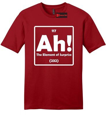 27767ee344046a Ah The Element Of Surprise Funny Mens T Shirt Science Periodic Table Nerd  Tee Z2