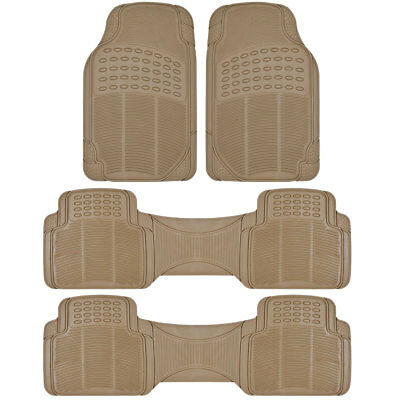 Heavy Duty 3 Row Semi-Custom Beige Rubber Floor Mats fits Chrysler Town & Coutry
