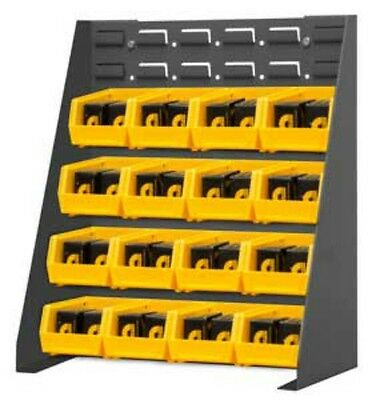 Durham Free Standing Louvered Panel Rack System With 16 Yellow Hook On Bins