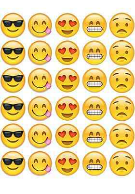 30X EMOJI FACES PRE-CUT edible WAFER CARD cup cake toppers