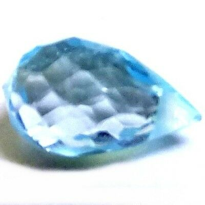 NATURAL BLUE TOPAZ GEMSTONES BRIOLETTE CUT TOP CROSS DRILLED (1p x 7 x 5.7 mm)