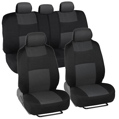 Car Seat Covers for Nissan Versa 2 Tone Charcoal & Black w/ Split Bench