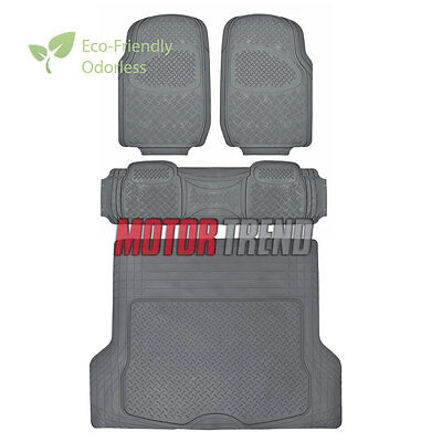 HD Rubber Floor Mats Gift Pack MOTORTREND Gray - Odorless Rubber Liner