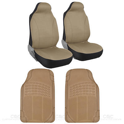Voyager 2 Pc Beige HighBack Bucket Seat Cover & 2 Pc Beige Rubber Car Floor Mat