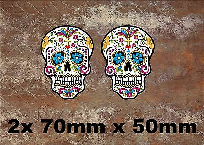 2 x Sugar Skull Vinyl Sticker Decal Mexican Spanish Day of the Dead Fun