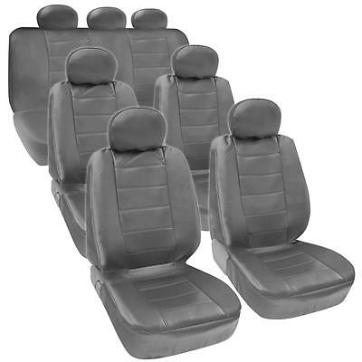 Gray PU Leather 3 Row Seat Covers for VAN SUV Airbag Safe Armrest Compliant Grey
