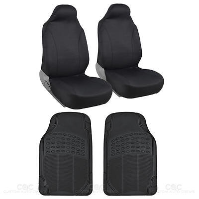 Voyager 2 Pc Black HighBack Bucket Seat Cover & 2 Pc Black Rubber Car Floor Mat