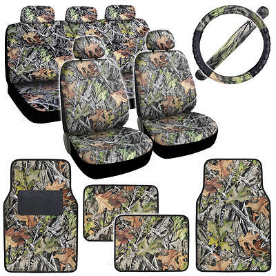 13 Piece Forest Camo Car Seat Covers, Floor Mats & Steering Wheel Cover for Auto