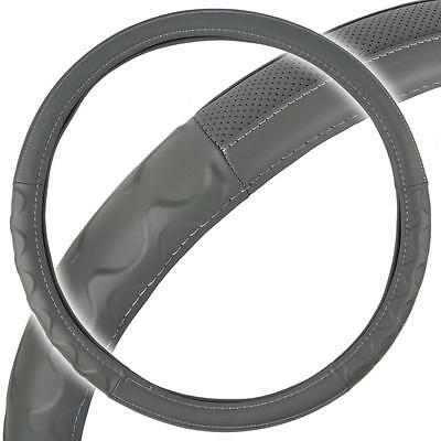 """Big Rig Steering Wheel Cover for Tractor Trailer 18"""" Gray Premium Syn Leather"""