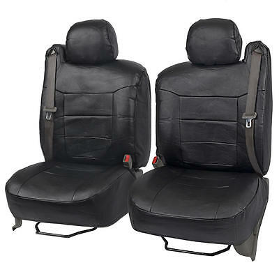 Black PU Leather Front Pair Seat Covers Luxury for Built-in Seatbelt SUV Trucks
