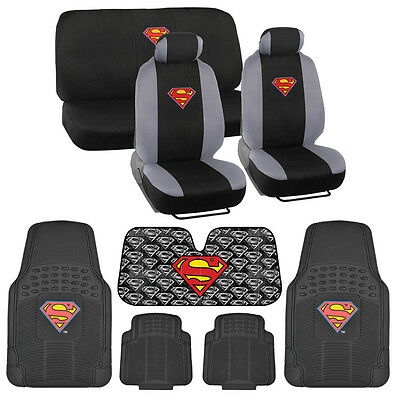 Warner Brothers Superman Gift Set -Car Seat Covers, Rubber Floor Mats, Autoshade