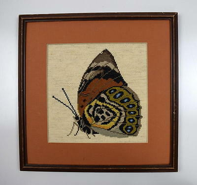 Vintage Butterfly Needle Point Tapestry Framed Mounted Textile Wall Art 13""
