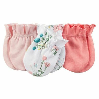 New Carter's 3 Pack Baby Mittens size 0-3 months NWT 100% Cotton Girls Pink Flor