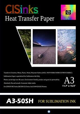 "50 Sheets A3 (11.7"" × 16.5"") Sublimation Ink Heat Transfer Paper Inkjet Printer"