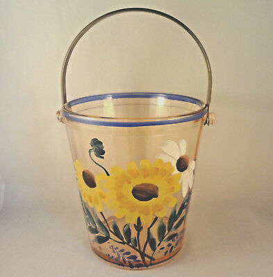 Hand Painted PINK GLASS BUCKET or PAIL Sunflowers Black Eyed Susan Daisy