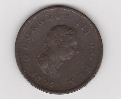 Great Britain Uk 1806 Half Penny King George Iii  Of England 3 Berries Rare