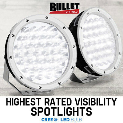 Pair BULLET 9 Inch LED Driving Lights-White CREE Spotlights Offroad Round