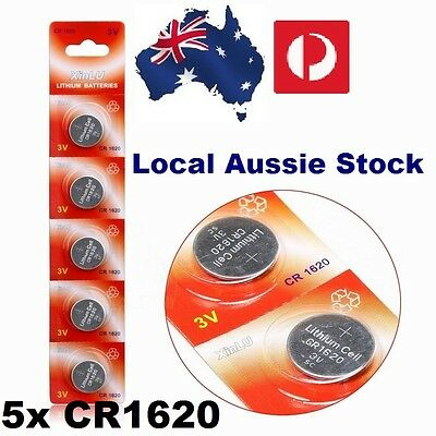 5x CR1620 3 Volt Lithium Button Cell Battery ECR CR EA 280 Retail Blister Pack