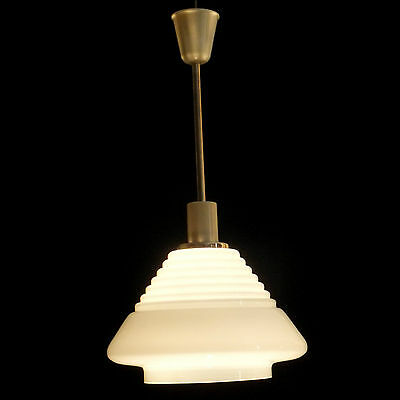 Old VINTAGE Retro Art Deco Mid Century Ceiling WHITE Milk Glass Shade LIGHT Lamp