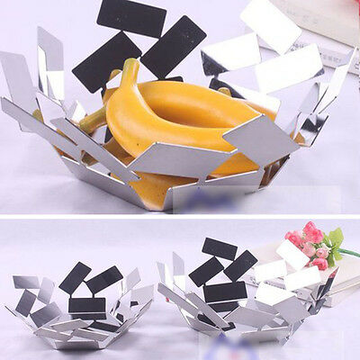 Fashion Hollow Stainless Steel Fruit Bowl Silver Modern Style Decorative Plate