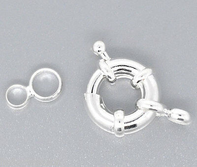 30 Silver Plated Spring Clasps W/Attachment Rings 25mm