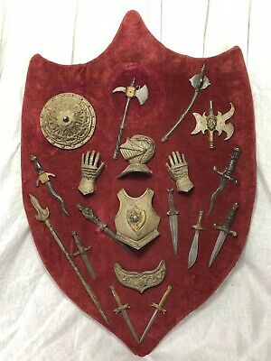 Rare Medieval Renaissance Style Serpentine Battle Shield Wall Plaque Mancave
