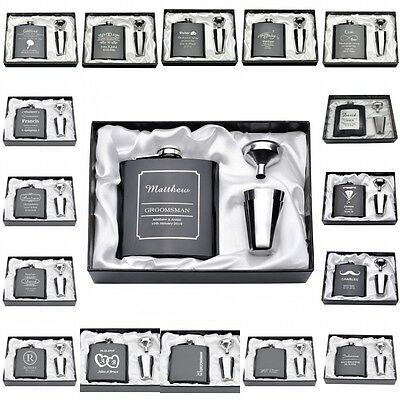 Personalized Engraved 6oz Black Hip Flask Set Funnel Glasses Gift Wedding Favors
