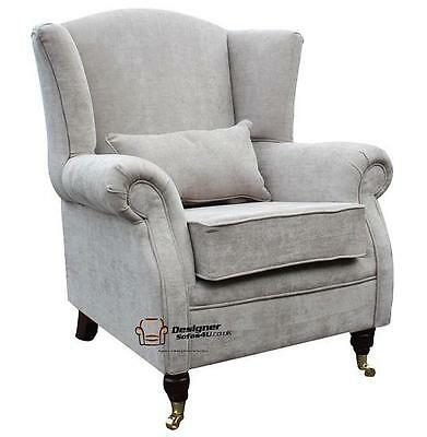 Ashley Fireside High Back Wing Armchair Velluto Hessian Mink Fabric