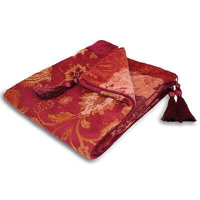 Traditional Floral Jacquard Throw - Burgundy Red Bed Blanket Sofa Throw Over