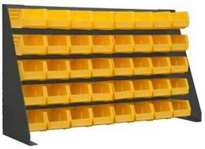 """Durham Free Standing Louvered Panel Rack System 40 Yellow Hook Bins, 34"""" Width"""