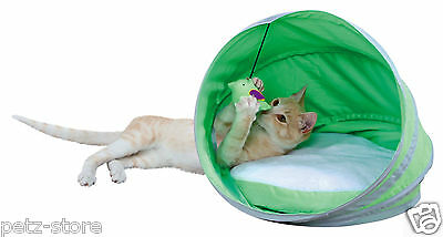 neva cat / kitten cuddle cave 38 x 40cm green/white with toy 36350 SALE ITEM