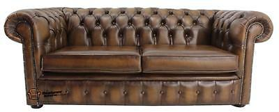 Chesterfield London English 2.5 Seater Antique Tan Leather Sofa Settee