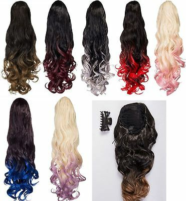 Dip Dye Claw Clip Straight Curly End Ponytail Koko Uk Hair Extensions LF39M