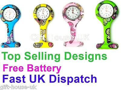 Butterfly Pattern Nurse Watch  Silicone Brooch Tunic Fob Watch FREE BATTERY