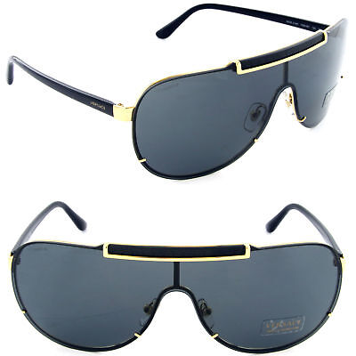 VERSACE Unisex Aviator Sunglasses VE 2140 1002/87 Black-Gold / Grey Lens