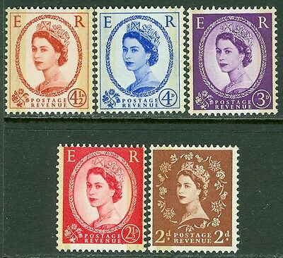 GREAT BRITAIN : 1959. Stanley Gibbons #605-09 Phosphor, Graphite. VF MNH Cat £65