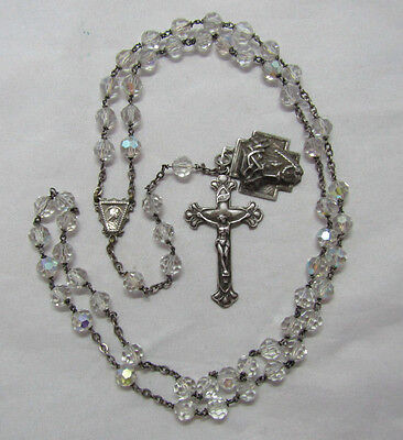 "† Vintage Sterling 3D ""ecce Home"" Medal & Aurora Borealis Rosary Necklace 29"" †"