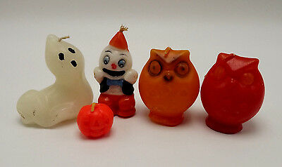 Halloween Candles Ghosts Pumpkin Owls Orange Assorted Sizes Lot of 5 Not Burned