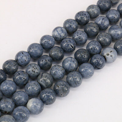 Blue Natural Stone Coral 15'' Strands One Bunch Round Spacer Beads Necklace DIY