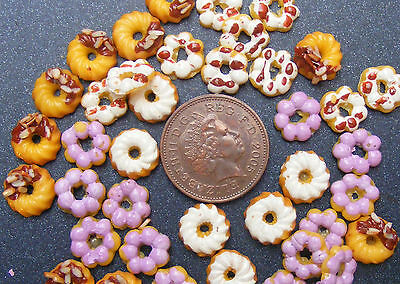 1;12 Scale 8 Loose Mixed Biscuits Dolls House Miniatures Bakery Donut Food L2