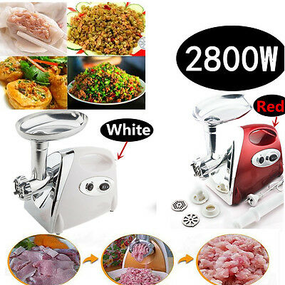 2800w Commercial Meat Mincer - Electric Meat Grinder & Sausage Maker White/red