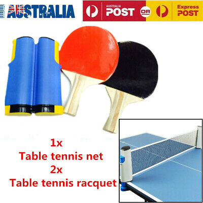 Portable Table Tennis Set 2 Rackets 1 Retractable Net AU Stock