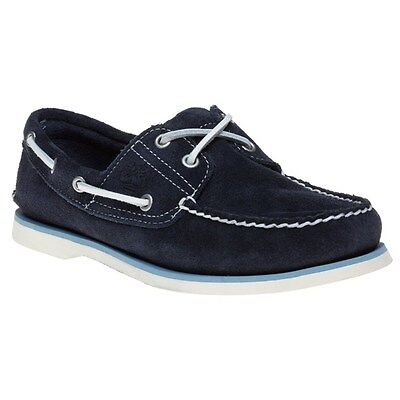 New Mens Timberland Blue Classic 2 Eye Suede Shoes Boat Lace Up