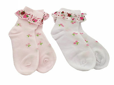 Baby Girl 2-pack Strawberry Cherry Summer Lace Frilly Socks Age 1 2 3 4 5 6 7