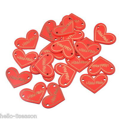 30PCs Red Wood Buttons 2 Holes Heart Red Handmade Sewing Scrapbooking 2.3x3cm