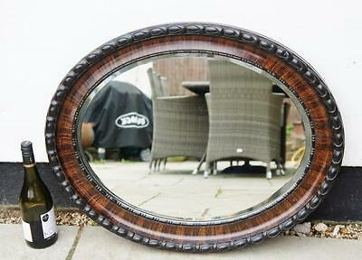 Large Victorian, faux tortoise shell, oval wall, hall mirror 74 x 59 cm  VGC