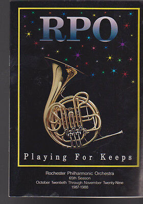 Rochester Philharmonic Orchestra RPO Playing for Keeps October 1987 Program